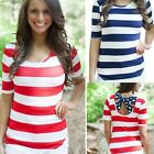 New Women Casual Ladies Stripe Short Sleeve T-shirt Shirt Tops Blouse Tops DZ88