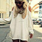 Fashion Sexy Womens Cotton Blouse Off Shoulder Long Sleeve Casual Shirt Tops