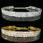 3, 4, 5, 9 Rows Gold / Silver made with Swarovski Crystal Choker Prom Xmas 062G