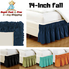 "Queen King Size 14"" Ruffled Elastic Solid Bed Skirt Silky Wrinkle Free Bedding image"