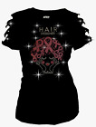 Hair Designer Rhinestones T-Shirt,Breast Cancer Pink Ribbon Ripped Cut Out S~3XL