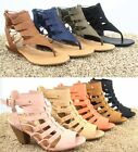 Women's Buckle Open Toe Strappy Gladiator Chunky Heel Sandal Shoes Size 5.5 - 11