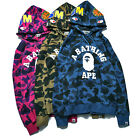 Men Hoodie Coat A Bathing Ape Bape Shark Head Camo Jacket Pullover Sweatshirt