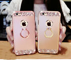Bling Glitter Crystal Diamond Metal Bumper Case with Ring Kickstand for iPhone