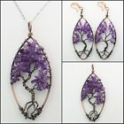 Natural Amethyst Labradorite Peridot Chip Beads Tree Pendant Necklace Earrings