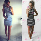 Women Fashion Hooded Bodycon Mini Dress Casual Jumper Sleeveless Hoodie Blouse