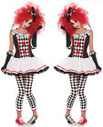 Adult Womens Harlequin Honey Clown Halloween Costume Fancy Dress S M L XL 2XL