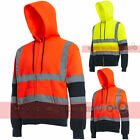 HI VIZ VIS VISIBILITY HOODED REFLECTIVE WORK FLEECE SWEATSHIRT JACKET ZIP HOODY