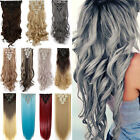 100% Real Thick Double Weft 8Pcs Clip in on Hair Extensions human Synthetic G89