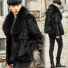 Men's Winter Warm Real Whole Rabbit Fur Coat Jacket Outwear Raccoon Fur Collar