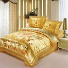 New Chinese Dragon and Phoenix Bedding Sets Golden Embroidery Silk Duvet Covers