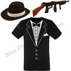 MENS ADULTS 1920S 20S PIMP GANGSTER TUXEDO T SHIRT GUN & HAT FANCY DRESS COSTUME