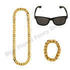 MENS PIMP GANGSTER BLING BRACELET SUNGLASSES & NECKLACE FANCY DRESS STAG NIGHT