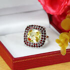 Natural Citrine & Red Garnet 925 Sterling Silver Solitaire W Accent Ring (gr616)