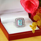Blue Topaz & Pink Tourmeline 925 Sterling Silver Solitaire W Aceent Ring -gr611