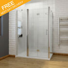 Frameless Bifold Shower Door Enclosure with Tray Side Panel 300mm Inline Panel
