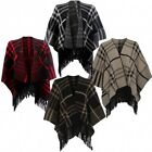 womens Knitted Check Batwing Tassel Poncho Jumpers  Cardigans shawl (c3014)