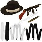 1920S 20S MENS GANGSTER PIMP HAT BRACES TIE CIGAR TOMMY GUN FANCY DRESS COSTUME