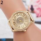 Women Luxury Big Numbers Round Dial Rhinestone Alloy Quartz Wrist Watch Sanwood