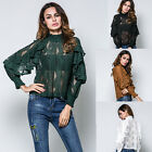 2017 Fashion Ladies' Lace Falbala Long Sleeve Blouse Stand Collor T-shirt Tops