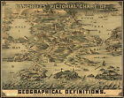 1870 Bancrofts' Pictorial Chart Map of Geographical Definition Wall Art Poster