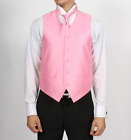 New Men's Prom Pink Vest Tie & Pocket Square Set Formal Special Deal TUXXMAN