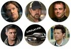 "Supernatural Pinback Buttons or Fridge Magnets 1.25"" Set Of 6 Sam Dean Crowley"