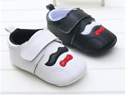 Sofe Sole Baby Boy Crib Shoes White & Black Toddler Bearded Trainers 0-18 Months