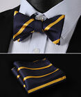 BS316V Navy Blue Yellow Stripe Woven Men Silk Self Bow Tie handkerchief set