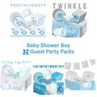 32 Guest Baby Shower Boy - Party Packs includes Decorations, Games, Tableware