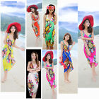Bohemian Floral Print Backless Strappy Dress Women's Chiffon Summer Beach Dress
