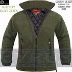 Mens Padded Quilted Jacket Thick Anti Pill Fleece Winter Warm Coat Olive Green