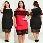 New Womens Plus Size lace Detail Going out Dress 18-24 6233B