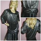 AVANT GARDE 80s does the 20s BLACK SILVER TRASHY DECO COCKTAIL DRESS 20-22 1980s