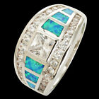 Princess Cut Moissanite Blue Fire Opal Silver Band Ring Size 5 6 7 8 9 10 11 12