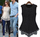 Fashion ladies lace round neck sleeveless shirt hollow shirt T-shirt tops S-5XL
