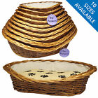 Wicker Pet Basket Natural Woven Kitten Puppy Cat Dog Bed Soft Fleece Cushion Paw