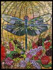 GODBOUT ORIGINAL Art Print Dragonfly Art Nouveau Tiffany Stained Glass Style.