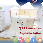 7pcs Baby Crib Bedding set Bumpers Quilt Pillow Cot Sheet Newborn Gift Cream Kid
