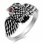 Owl Garnet Cubic Zirconia Eyes Oxidized Sterling Silver Ring