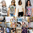 Womens Summer T-Shirt Short Sleeve Graphic Casual Top Tee Shirt Blouse Plus Size