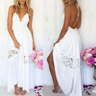 Women Ladies Summer White Maxi Dress Loose Long Beach Party Backless Dress Hot