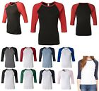 LADIES 3/4 SLEEVE, BASEBALL JERSEY STYLE TSHIRT, SLIM FIT, BABY RIB COTTON S-2XL