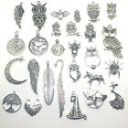 Внешний вид - Lot Vintage Tibet Silver Clock Feather Owl Wings Pendant Charms Jewelry Findings