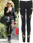 NEW LADIES WOMENS TRIBAL SEAM EMBROIDERED SKINNY JEANS SIZES 8-10-12