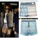WOMENS LADIES FADED DENIM EFFECT USA FLAG PRINT HOT PANTS SHORTS