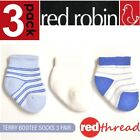 Red Robin 3 Pair Pack New Kids Socks Baby Bootees Cotton Ankle Size 000 Newborn