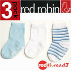 Red Robin Baby 3 Pack Kids Socks Cotton Blend Ankle Size 00-1 1-2 Blue Stripe