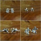 Sterling Silver Stud Earrings,  Crystal Star, Dolphin, Star, Crucifix