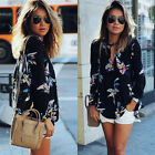 Nice Summer Women Long Sleeve Chiffon Floral Casual T Shirt Loose Blouse Tops